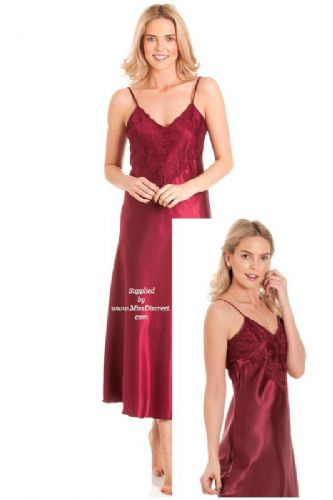 Long Silky Satin and Lace Nightie in Claret Red - Nightdress Chemise Slip - Size UK 10 to 28